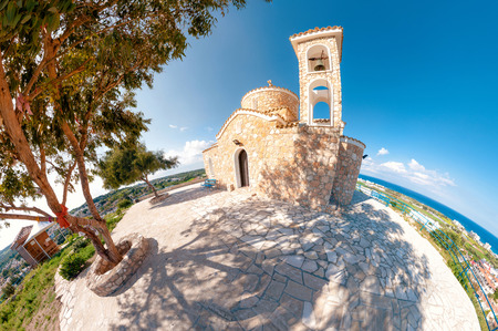 church bells: Church Profitis Ilias. Protaras, Cyprus Stock Photo