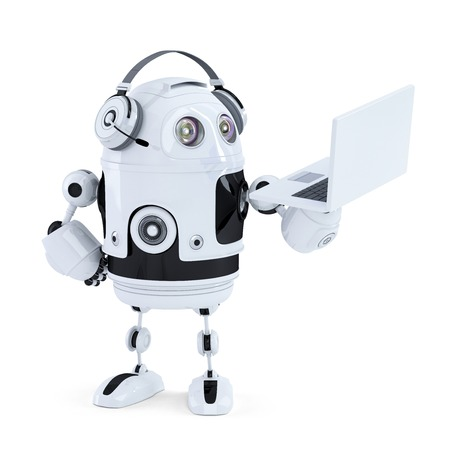 talking robot: robot con auriculares y un ordenador port�til. Aislado. Contiene trazado de recorte