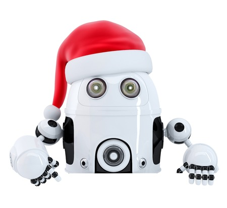 Robot Santa pointing in blank advertisement banner. Isolated. Contains cliping path photo