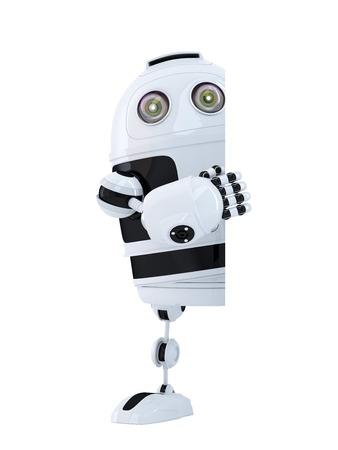 ロボット白紙の横断幕の後ろに立っています。分離されました。クリッピング パスが含まれています 写真素材