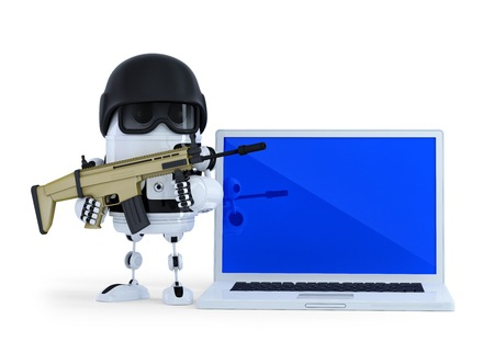 Armed robot with laptop. Technology security concept.  photo