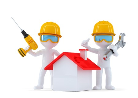 Construction Workers with home. Isolated. contains clipping path photo