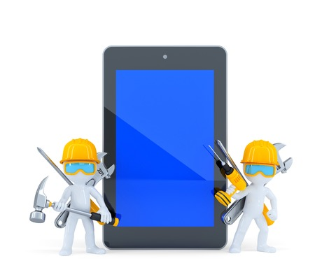 Construction workers with tablet pc. Isolated on white. Contains clipping path of tablet screen and entire scene photo