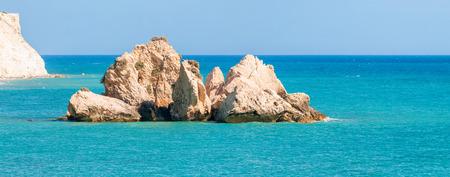 afrodita: Paisaje marino cerca de la roca de Afrodita. Paphos, Chipre