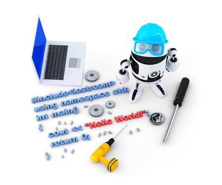 compiler: Robot with tools and program source code. Technology concept. Isolated. Contains clipping path Stock Photo