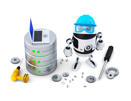 Robot with database. Technology concept. Isolated. Contains clipping path photo