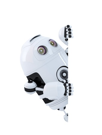 Robot looking at blank banner. Isolated on white. Contains clipping path Standard-Bild
