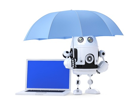 entire: Android robot with laptop and umbrella. Security concept. Isolated on white. Contains clipping path of entire scene and laptop screen