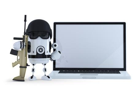 武装ロボット wih 空白画面のノート パソコン。Thechology 保護概念。白で隔離。全体のシーンとラップトップの画面のクリッピング パスが含まれてい 写真素材