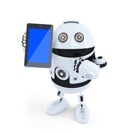 Robot Holding A Tablet. Isolated. Contains clipping path photo