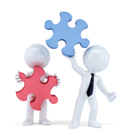 Business people with pieces of puzzle. Teamwork concept. Isolated. Contains clipping path photo