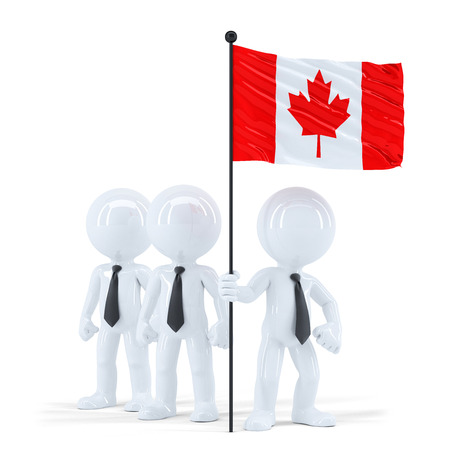 raise the white flag: Business team holding flag of Canada. Isolated. Contains clipping path Stock Photo