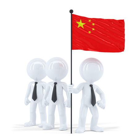 cantonese: Business team holding flag of China. Isolated. Contains clipping path Stock Photo
