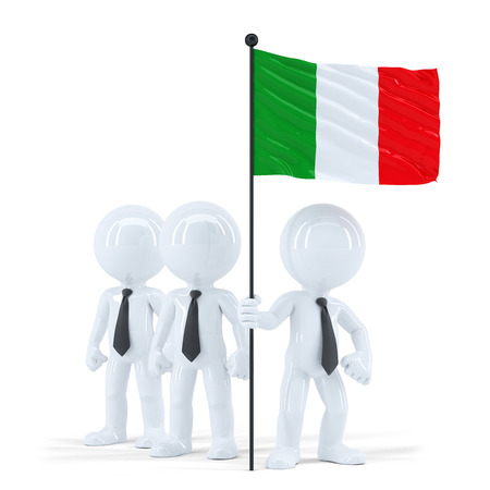 raise the white flag: Business team holding flag of Italy. Isolated. Contains clipping path