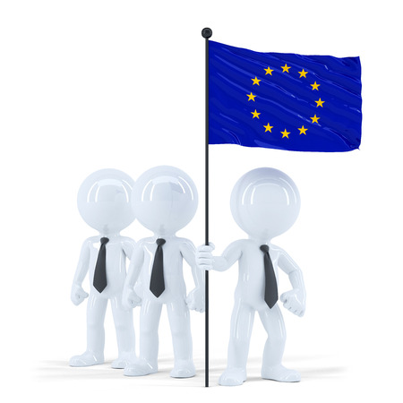 Business team holding flag of European Union. Isolated. Contains clipping path photo