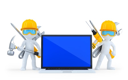 laptop repair: Industrial worker with laptop. Isolated. Contains clipping path Stock Photo