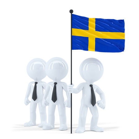 Business team holding flag of Sweden. Isolated. Contains clipping path photo