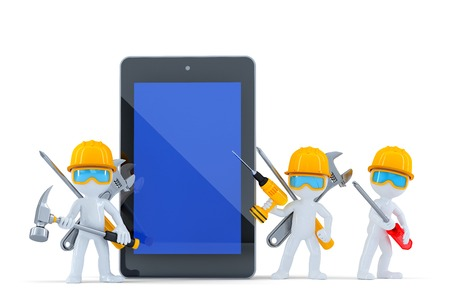Construction team with tablet computer. Isolated. Contains clipping path photo