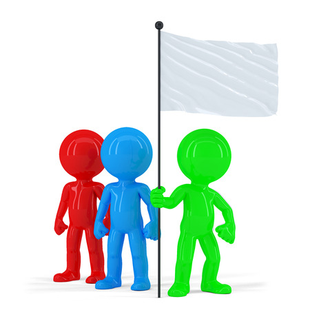 manifest: Team of coloured people holding flag. Isolated. Contains clipping path
