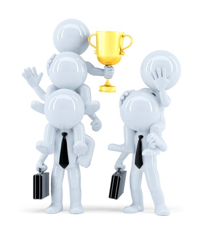 losers: Winners and losers. Business concept. Isolated on white. Contains clipping path