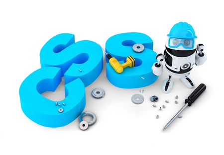css: Robot with CSS sign  Technology concept  Isolated on white background  Contains clipping path