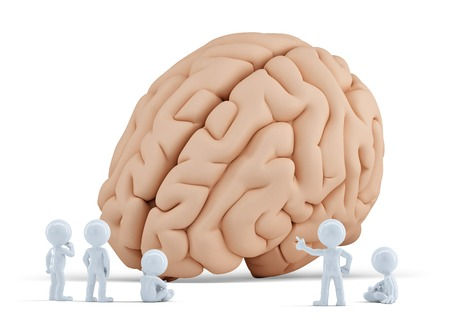 Little people arond giant brain  Isolated  Contains clipping path
