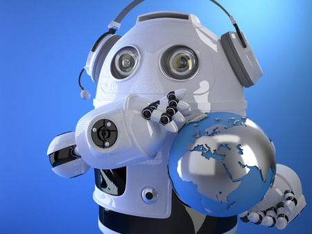 3d Robot operator in headset with globe. Globall support concept. Contains clipping path
