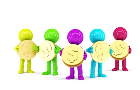 Group of coloured 3d people holding coins. Isolated. Contains clipping path photo