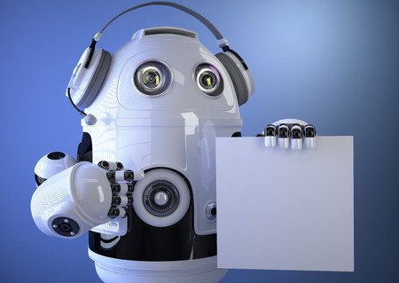 3D Robotic operator with headset and blank board. Technology concept. Contains clipping path photo