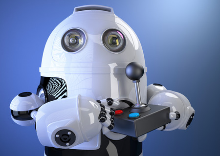 joy pad: Robot with joystick. Contains clipping path Stock Photo
