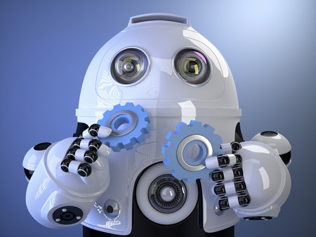 power tool: 3d Robot holding gears in hands. Technology concept. Contains clipping path