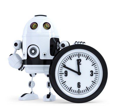 Robot with clock. Technology concept. Isolated. Contains clipping path photo