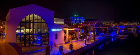 limassol: LIMASSOL, CYPRUS - 19 AUGUST 2014: Night panorama of a newly constructed Limassol marina