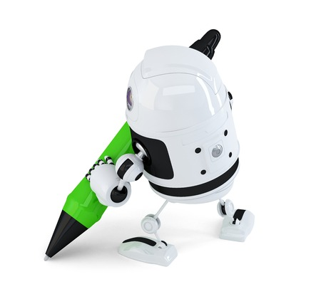 Robot writing with marker pen. Isolated on white. Contains clipping path photo