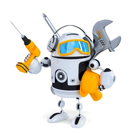 repair man: Construction robot with tools. Isolatedover white. Contains clipping path