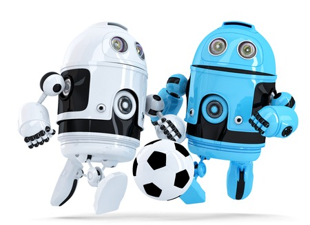 Robots playing soccer. Isolated on white. Contains clipping path photo