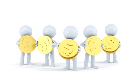 silver coins: Group of 3d people with gold shiny coins. Isolated. Contains clipping path