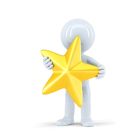 star path: 3d man holding golden star. Isolated on white. Contains clipping path
