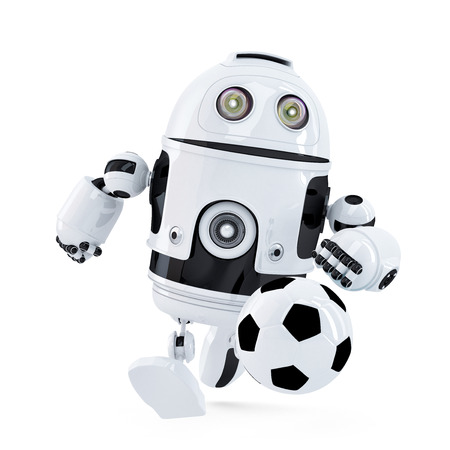 Robot playing football. Isolated. Contains clipping path photo
