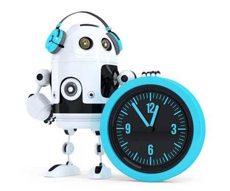 Robot call center operator. Isolated. Contains clipping path photo
