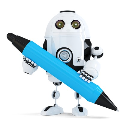 3d Robot with pen. Isolated on white. Contains clipping path photo