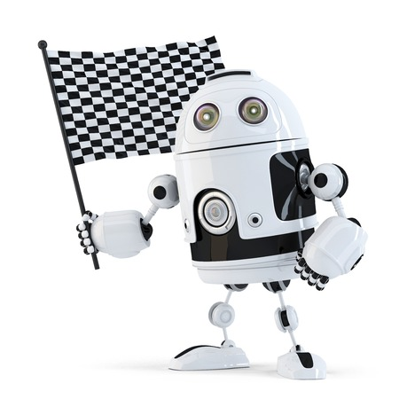 3d Robot waving chequered flag.Isolated. Contains clipping path photo
