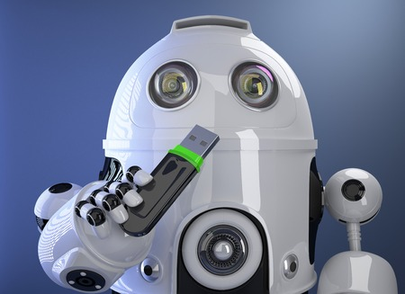 Robot holding USB memory stick. Contains clipping path photo