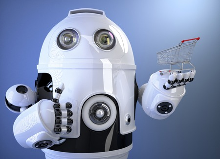 web robot: Robot holding shopping cart. Contains clipping path