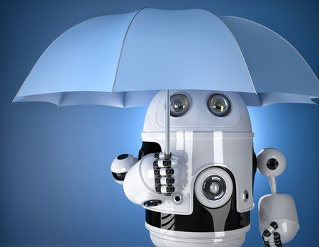 robot with shield: Robot with umbrella. Security concept. Contains clipping path