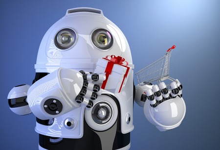 Robot with shopping cart with gift box. Contains clipping path photo