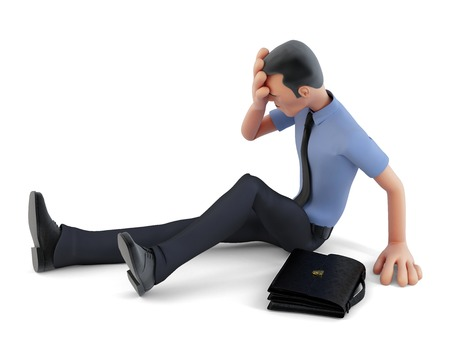 Depressed businessman sitting on the floor. 3d illustration. Contains clipping path illustration