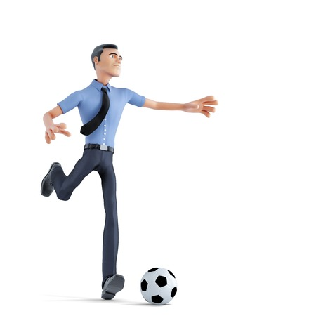 Businessman playing soccer.Business concept. Isolated, contains clipping path photo