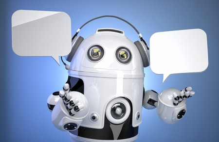 Robot customer service operator with headset and speech bubbles. Isolated, contains clipping path photo