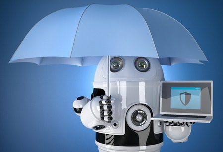 data protection: 3d Robot with umbrella and laptop. Data protection concept. Isolated. Contains clipping path